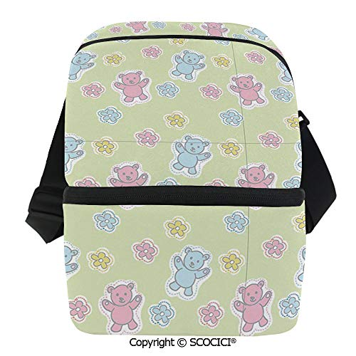 SCOCICI Thermal Insulation Bag Baby Toy Drawing Pattern with Soft Colored Teddy Bears and Wildflowers Decorative Lunch Bag Organizer for Women Men Girls Work School Office Outdoor