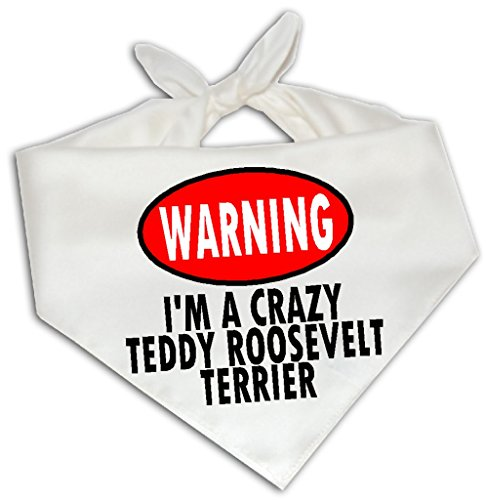 Warning I'm A Crazy Teddy Roosevelt Terrier - Dog Bandana One Size Fits -