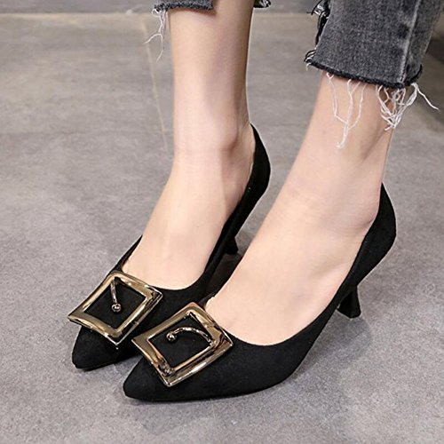 Spring Glasses Comfortable Suede Shoes Wine Heels Pointed Heels Black Beige Shoes GAOLIXIA Black with High High Women's Green Pink RIq8wxF