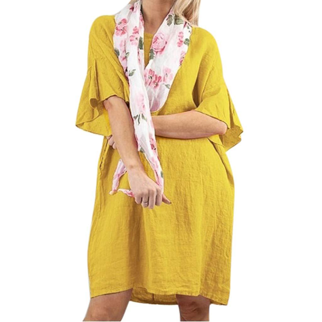 Short-Sleeved Dress Round-Neck Dresses Loose Vintage Casual Skirt ❀Vine_MINMI❀ Women's Beach Jersey Skater Beachwear Yellow by Vine_MINMI Dress