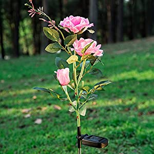 Elstey Solar Lights Rose Flower with Red Buds, Solar Powered Outdoor Waterproof LED Lamps Garden Landscape Decoration Illumination 2