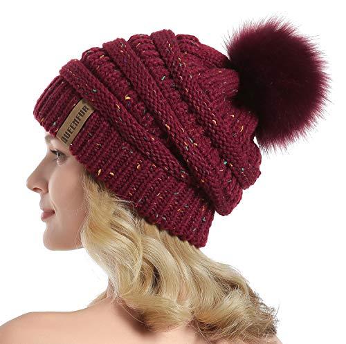(QUEENFUR Women Knit Slouchy Beanie Chunky Baggy Hat with Faux Fur Pompom Winter Soft Warm Ski Cap)