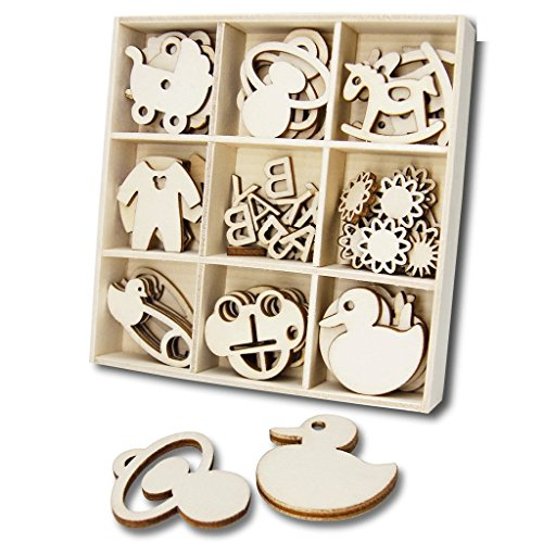 YuQi 45 Pcs Wooden Shapes Embellishments,Baby Kids Room Decoration Wedding Crafts Mini Laser Cut Blanks Slices Nipples and Stroller