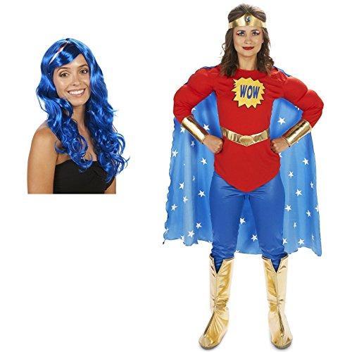 [Pop Art Comic Superhero Female WOW with Leggings Adult Costume and Wig Bundle Set - Small] (Comic Cosplay Costumes)