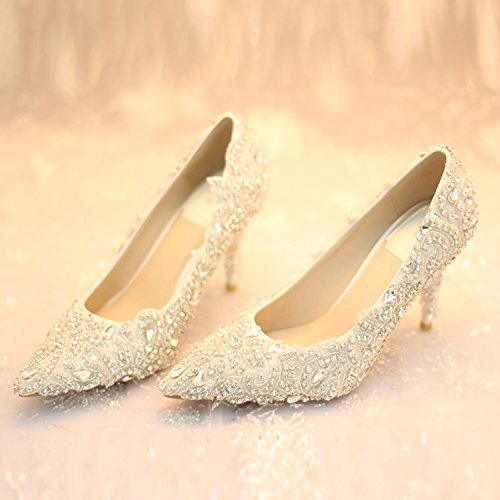Party Dress Wedding Sandals Luxury Heel Heel 8 Crystal 9Cm High Toe Pointed Shoes Prom Higher Quality Lady Shoes Glitter VIVIOO Shoes Evening XqFF8z