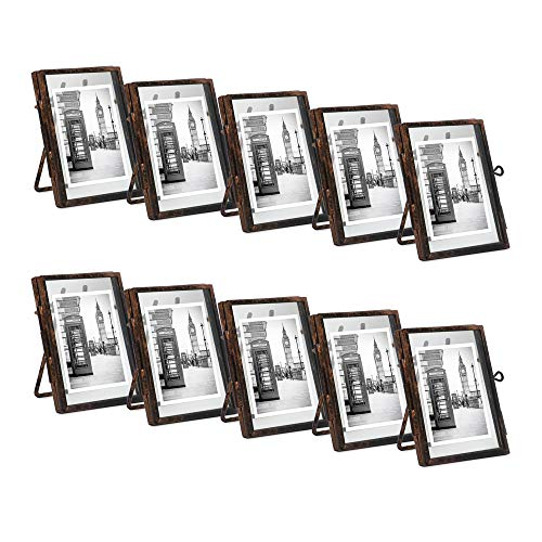 Isaac Jacobs 2x3 (10-Pack), Antique Bronze, Vintage Style Brass and Glass, Metal Floating Desk Photo Frame (Vertical), with Locket Closure for Pictures, Art, More