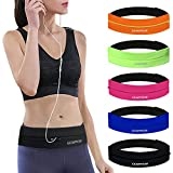 GEARWEAR Runners Running Belt Waist Pack for iPhone 8 X 7 Plus Women Men Workout Pocket Belts Phone Holder Waistband Samsung Galaxy Note S8 S7 for Wallking Fitness Jogging Black Zipper