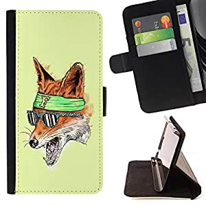 BullDog Case - FOR/Apple Iphone 5C / - / The Foxy Hipster Fox /- Monedero de cuero de la PU Llevar cubierta de la caja con el ID Credit Card Slots Flip funda de cuer