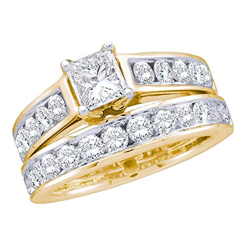 Jewels By Lux 14k Yellow Gold Womens Princess Diamond Solitaire Wedding Bridal Engagement Ring Set 1.00 Cttw In 4 Prong Setting (SI3 clarity; H-I color)