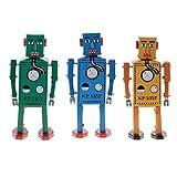 Jili Online 3PCS Vintage Tin Toy Mechanical Clockwork Lilliput Robot Collectible Models