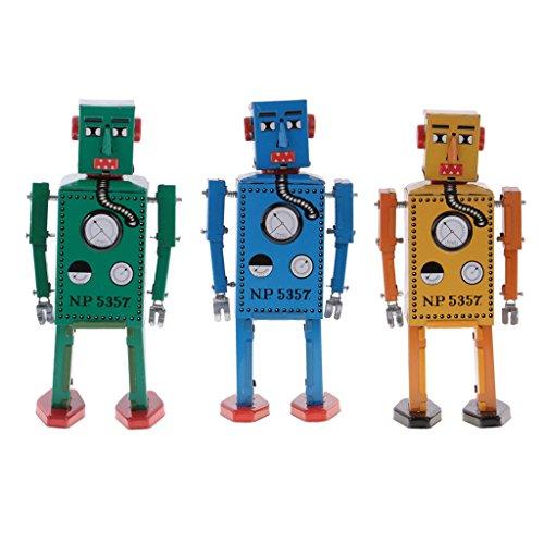 Jili Online 3PCS Vintage Tin Toy Mechanical Clockwork Lilliput Robot Collectible Models by Jili Online (Image #10)