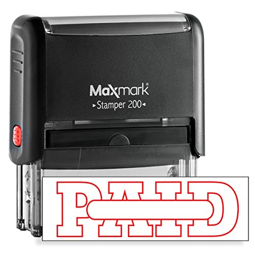 PAID Self Inking Rubber Stamp with Red Ink