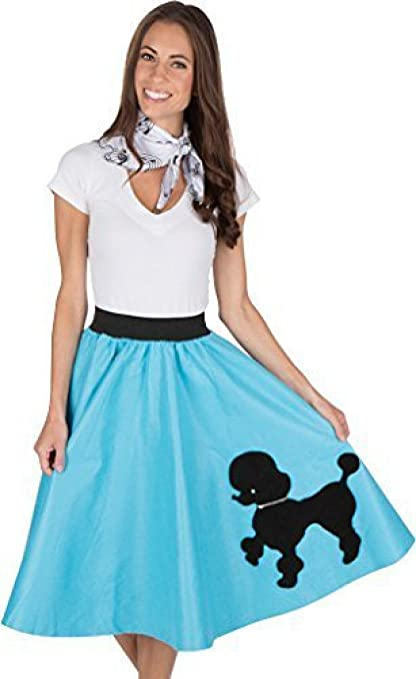 1950s 50s Costumes- Poodle Skirts, Grease, Monroe, Pin up, I Love Lucy Adult Poodle Skirt with Musical Note printed Scarf Turquoise $19.98 AT vintagedancer.com