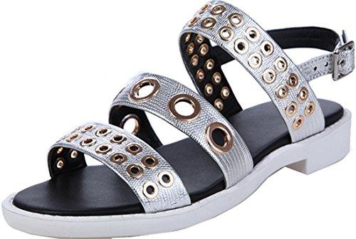 Damen Laruise Rivet Flache Silber Sandale Leder dHHnW5