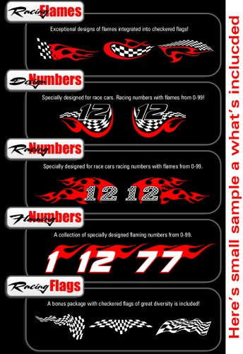 Review Racing Flames Clipart-Vinyl Cutter Plotter Images-Vector Clip Art Graphics CD-ROM