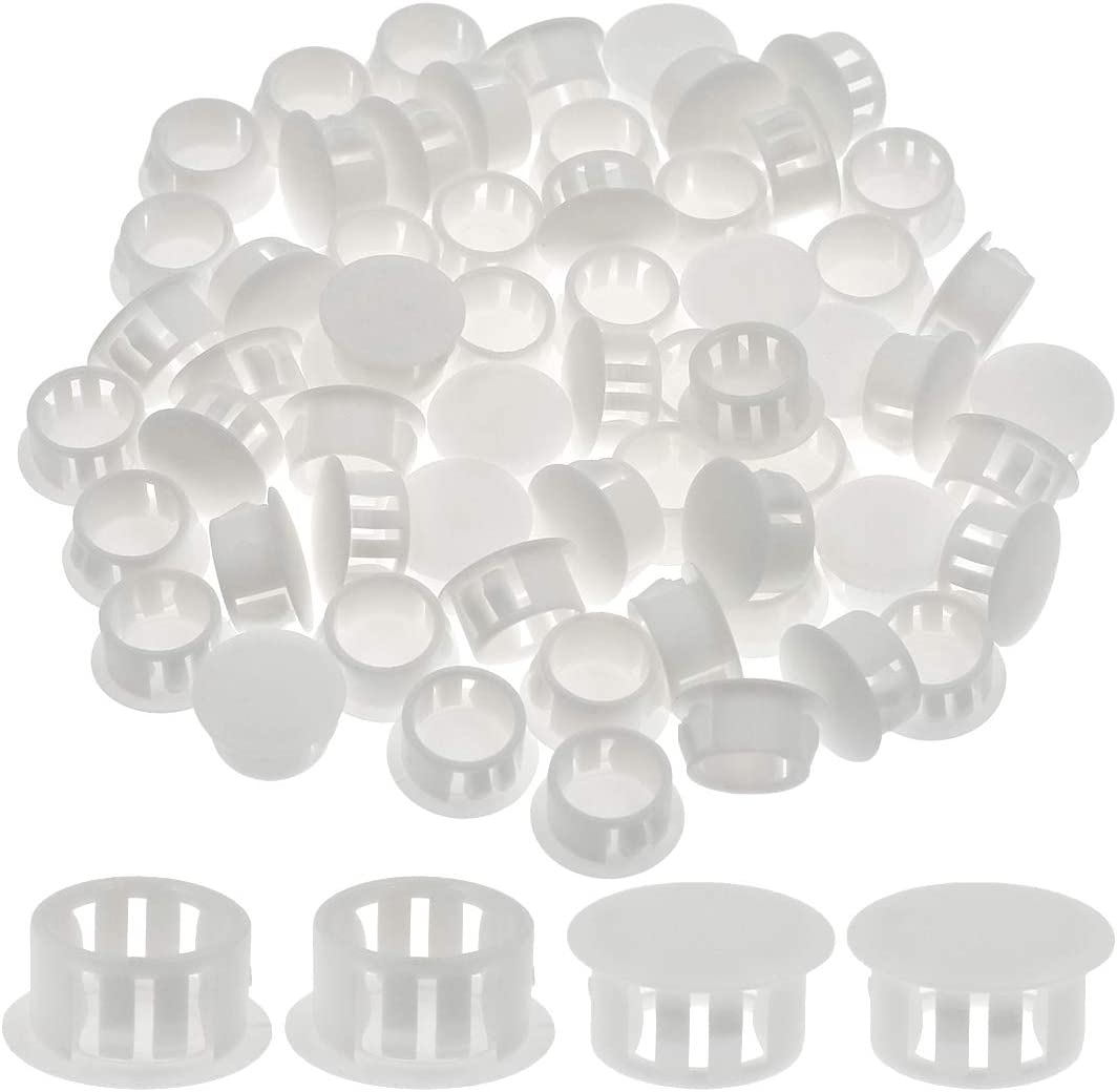 "Suiwotin 60PCS 16mm (5/8"") White Hole Plugs Plastic Flush Type Hole Plugs Snap in Locking Hole Tube, Furniture Fencing Post Pipe Insert End Caps (White)"