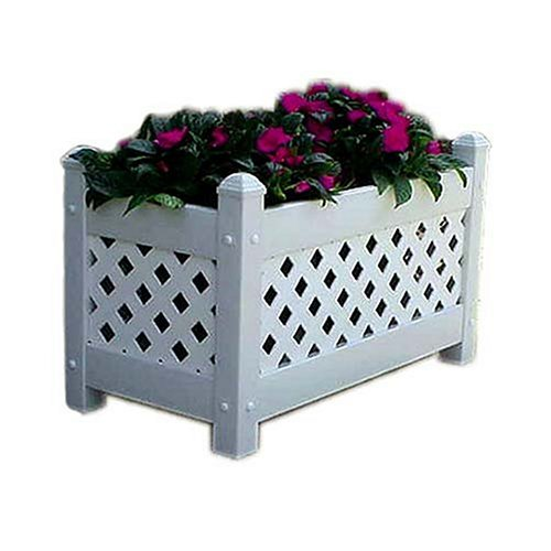 Sunburst Lattice Trellis - DuraTrel White Plastic Planter Box (model 11154)