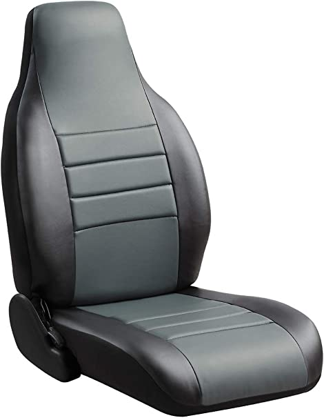 Black w//Red Center Panel Leatherette Fia SL68-18 RED Custom Fit Front Seat Cover Split Seat 60//40