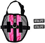 Dogline MaxAire Multi-Purpose Mesh Vest for Dogs and 2 Removable Emotional Support Patches, Small, Pink