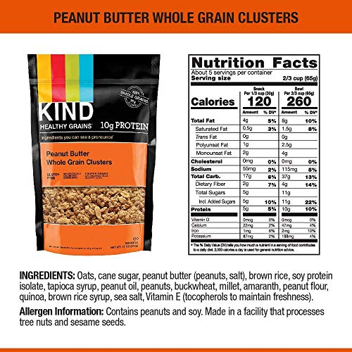 KIND Healthy Grains Clusters, Peanut Butter Whole Grain Granola, 10g Protein, Gluten Free, 11 Ounce Bags, Pack of 6