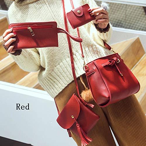 4pcs//Set Women Handbag Lady Shoulder Bags Tote Purse Messenger Satchel Leather R