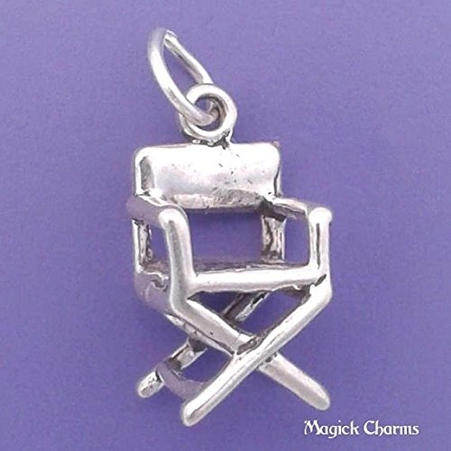 - 925 Sterling Silver 3-D Movie Directors Chair Charm Hollywood Film Jewelry Making Supply, Pendant, Charms, Bracelet, DIY Crafting by Wholesale Charms