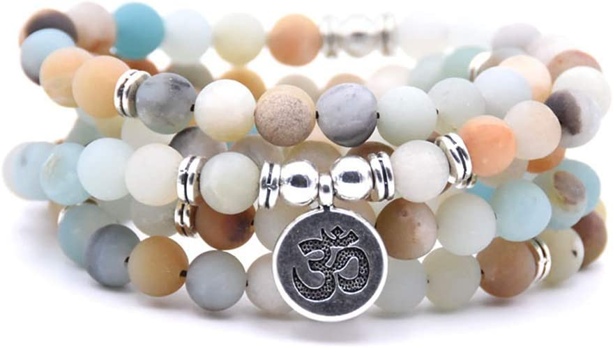 HOMEYU ® 8mm Mate Amazonita 108 Mala Perlas Collar/Pulsera para Hombres Mujeres Yoga Budista Rosario rezo Natural Piedras Preciosas ágata Jade Perlas