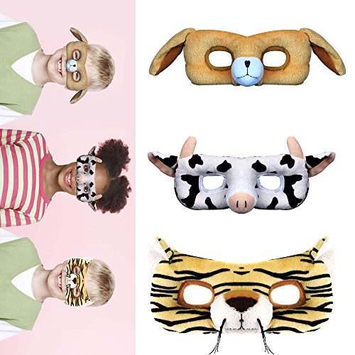 STAR-TOP Cartoon mask Cute animal plush cloth mask,masquerade without hurting the skin(3 (Halloween Masquerade Skin Mask)
