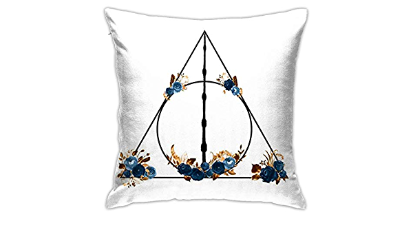 Anya Topshop Autumn Home Decorative Throw Pillow Covers 18x18 Inch Stain Resistant Deathly Hallows In Blue And Brown Floral Deathly Hallows Pillowcases Cushion Cover For Office Children Room Bar Home