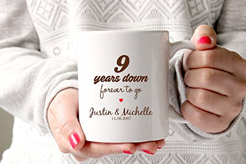 LIZNICE - 9th anniversary gift, 9th wedding anniversary, 9th anniversary, 9 years marriage,personalised mug, gift mug,9th anniversary gift ideas MUG ()