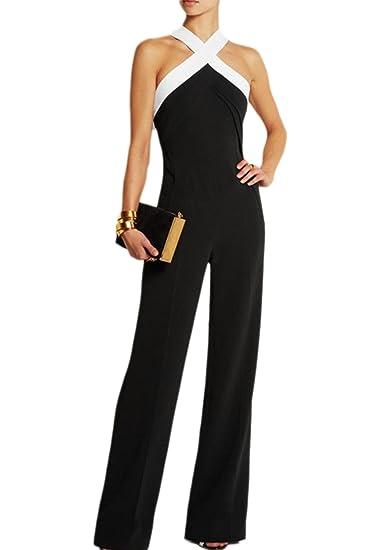 25acd826976 Women s Elegant Strapless Halter Long Pants Jumpsuits Rompers Black XS