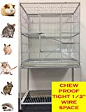 New Large Wrought Iron 4 Levels Ferret Chinchilla Sugar Glider Cage 30-Inch By 20-Inch By 63-Inch With Stand on Wheels