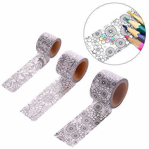 Sparklelife 3 Pcs Color Paper Craft Washi Tape Washi Tape Art Therapy, Unique Adult Coloring Masking Tape 12in x 5m