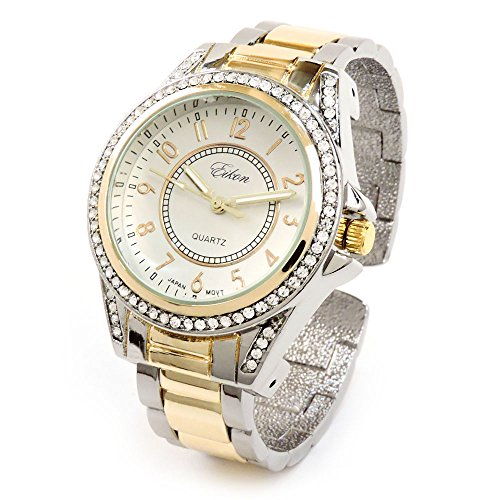 2Tone Metal Band Crystal Bezel Large Face Women