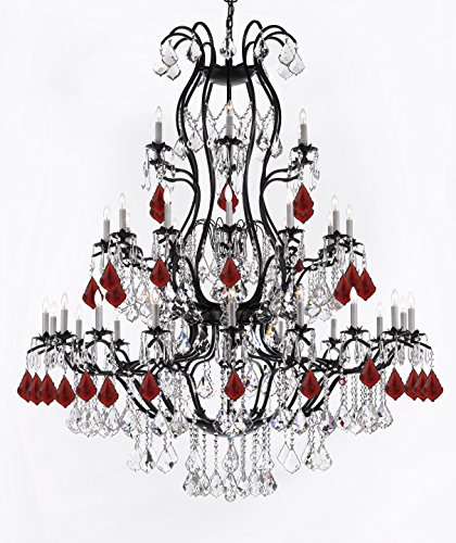 Large Wrought Iron Chandelier Chandeliers Lighting with Ruby Red Crystals! H60
