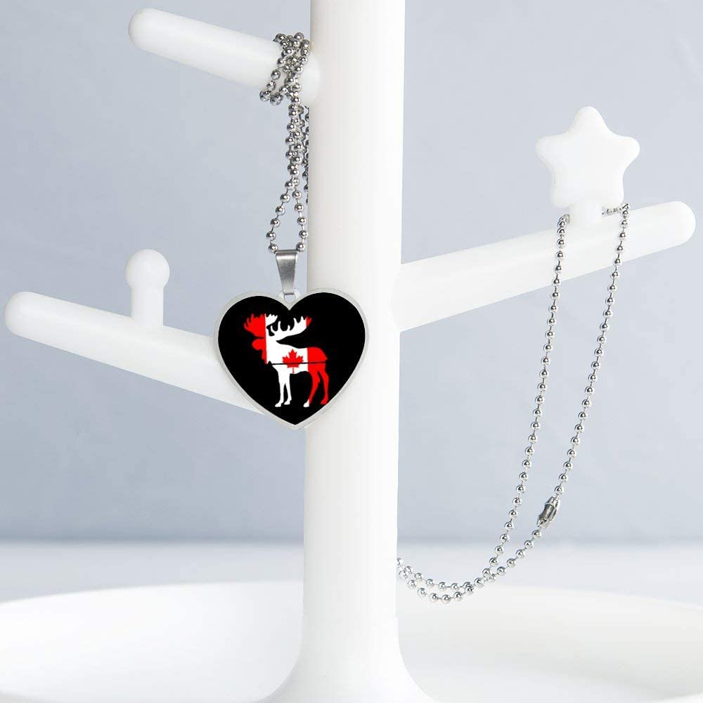 Moose Canada Flag Design Pattern Necklace Personalized Engraved Heart Custom Gift Pendant-Valentines Day Love