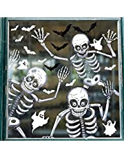 Tuopuda 81 STKS Halloween raamklempjes Stickers 10 vellen Halloween skelet en spookvenster stickers dubbelzijdige verwijderbare statische stickers sticker voor Halloween party venster decoratie
