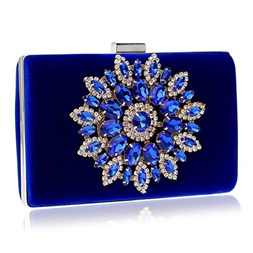 Banquet Diamond Color Chinese Black Bag Luxury Women's Handbag Evening KERVINFENDRIYUN Style Clutch Purse Blue aCqA08w