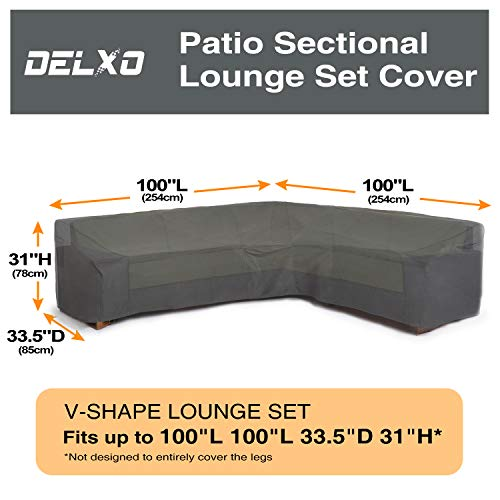 Delxo Sectional Sofa Cover Waterproof – 100 UV Weather Resistant PVC Coated, V-Shaped, Dark Green