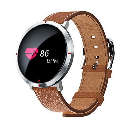 (CQL Fitness Tracker, Round Screen Smart Bracelet Rhythm Blood Pressure Bracelet Intelligent Information Push Display Pedometer IP67 Waterproof,Brown)