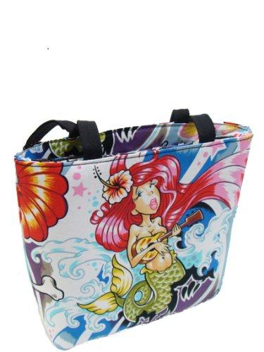 US HANDMADE FASHION Chula Hula Pinup Girl Marmaid Dancer Day Of The Dead Rockabilly Halloween Gothic Pattern Shoulder Bag Style Handbag Purse Cotton Fabric , BB (Hula Purse)