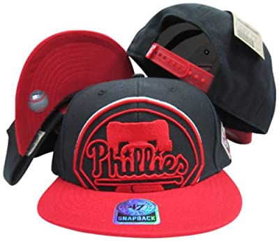 Philadelphia Phillies Black Out Two Tone Snapback Adjustable Plastic Snap Back Hat/Cap