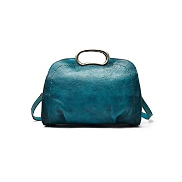 Klerokoh Bolso de Crossbody del Cuero Genuino del Vintage para Las Carteras Hechas a Mano de los monederos de Las Mujeres (Color : Blue-Green): Amazon.es: ...