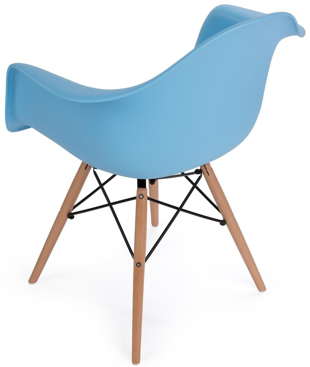 Displays2go, Scoop Plastic Eames-Style Chair, Metal, Plastic, and Wood Construction – Blue Finish, Light Wood Base (FDC32WDABU) by Displays2go (Image #2)