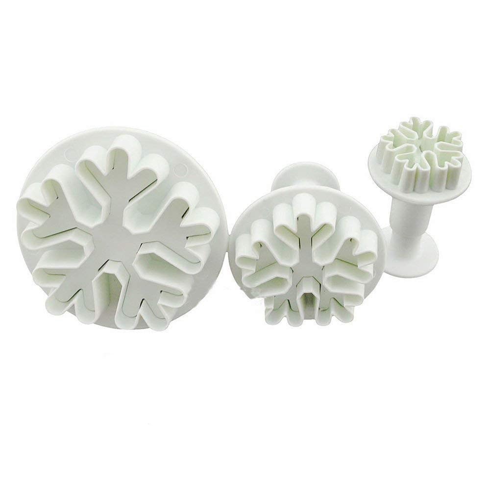 SK 3-Piece Mini Cookie Cutters Fondant Embossing Tool Snowflake Plunger Cake Cutter Sugarcraft Cake Decorating
