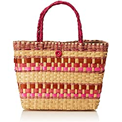 Uttara HB0076 Bolsa de Tela y de Playa, Unisex-Adulto, color Natural Multicolor, Mediano