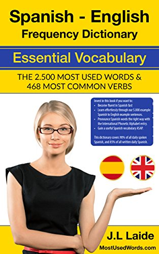 Spanish English Frequency Dictionary - Essential Vocabulary: 2500 Most Used Words & 468 Most Common Verbs cover