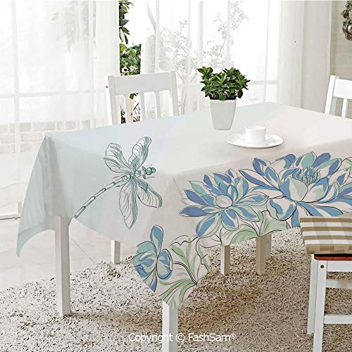 AmaUncle Party Decorations Tablecloth Waterlilies Flowers and Dragonflies Simplistic Design Eco Nature Theme Artwork Kitchen Rectangular Table Cover (W60 xL104)
