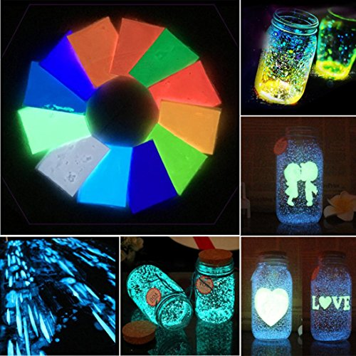 (Glow In Dark Sand Colorful Fluorescent Super Luminous Glow Pigment Bright Decor Durable)