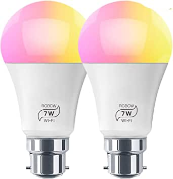 HaoDeng Smart LED WiFi Light Bulb 2 Pack -Timer & Sunrise & Sunset - 55W Equivalent(7W) B22,Dimmable,Multicolor,Warm White(Color Changing Disco Ball Lamp) Compatible with Alexa,Google Home and IFTTT